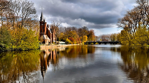 travel trees sun storm reflection church colors beautiful clouds reflections landscape spring nikon belgium brugge bridges bruges storms waterway artofimages andromeda50 photobenedict artistoftheyeargreatesthits