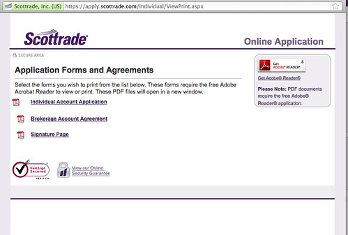 Scottrade forms and applications