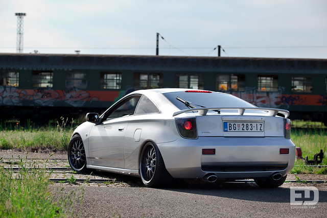 Toyota Celica over train rails