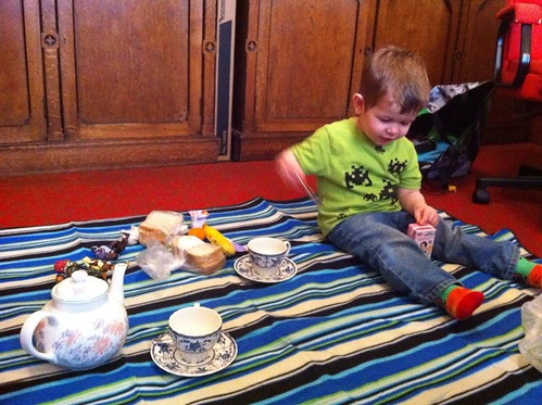 Picnic lunch and pretend tea party at Mummy's work