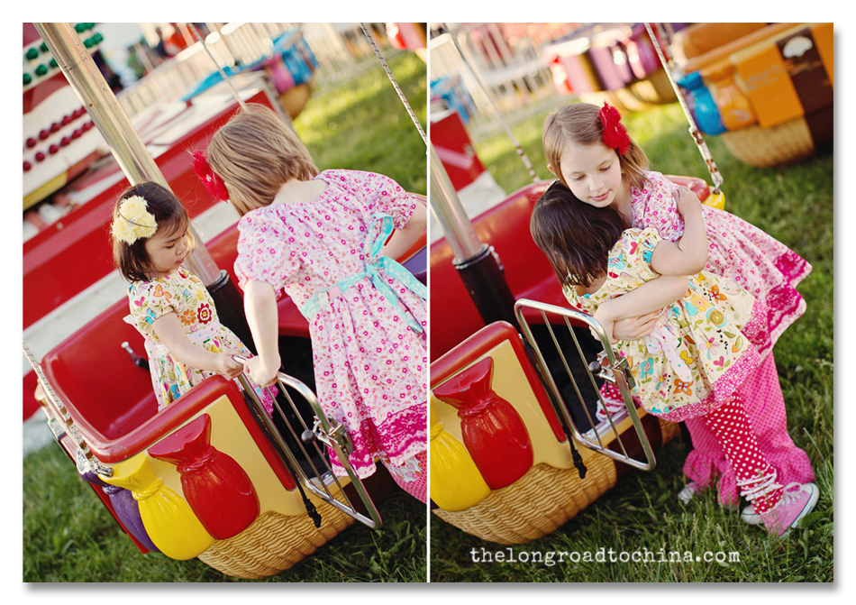 Helpin her sister off the ride Collage BLOG