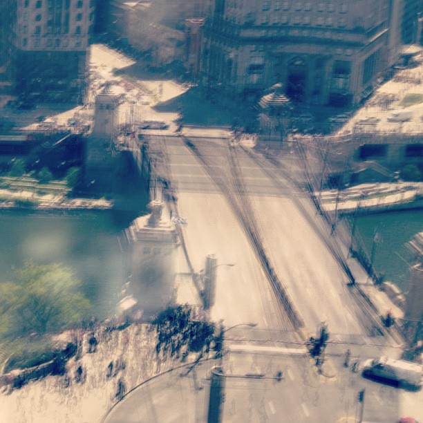 Multiple exposure of Michigan Avenue bridge closing