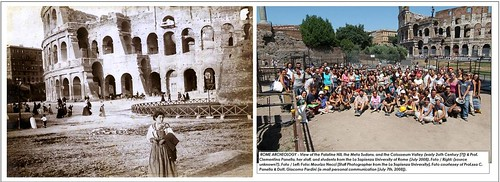 ROME ARCHEOLOGY - View of the Palatine Hill, the Meta Sudans, and the Colosseum Valley (early 20th Century [?]) & Prof. Clementina Panella, her staff, and students from the La Sapienza University of Rome (July 2008).