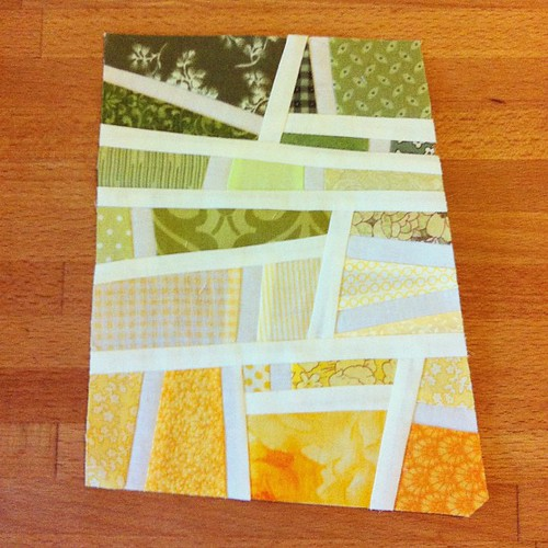 green-yellow-orange mod mosaic quilt block