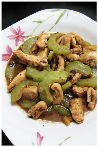 stir fried bittergourd with chicken and black beans by melmok