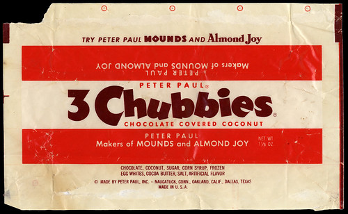Peter Paul's - 3 Chubbies - candy bar wrapper - 1940's 1950's by JasonLiebig
