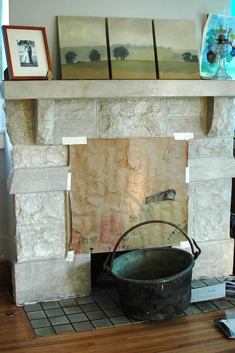 Fireplace (with copper apple butter kettle!)