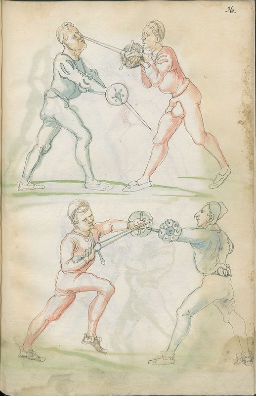 16th century sword fight manuscript drawing - Combat training 4