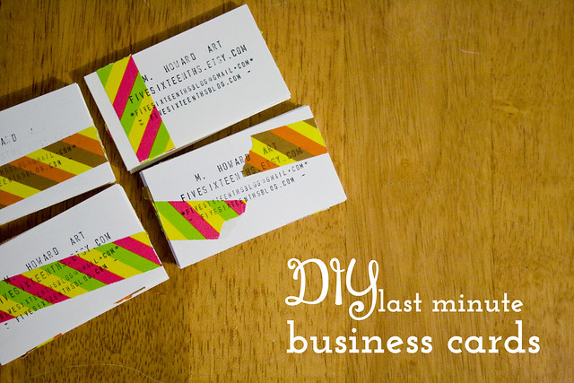 Five sixteenths blog make it monday diy last minute business cards supplies clean edge business cards kid made modern tape or washi tape stamp pad customizable stamp if you have a stamp made use that one colourmoves