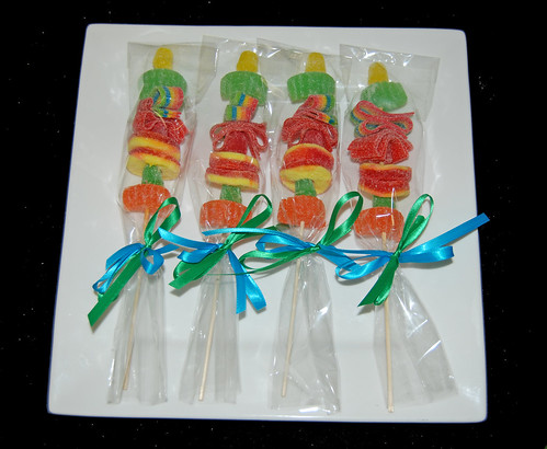 Candy Kabobs for circus themed 1st birthday dessert buffet