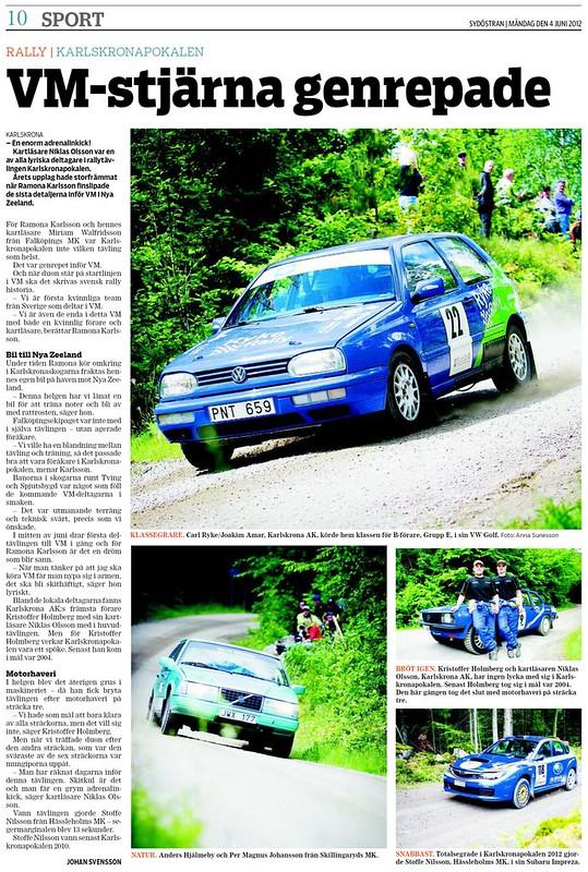 2012-06-04 Sydöstran, Artikel