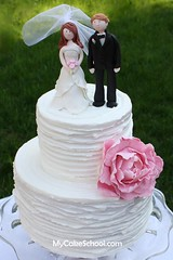 Rustic Wedding Cake with Bride & Groom