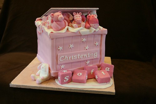 PInk Toy box Christening cake