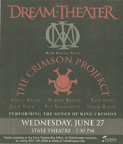 06/27/12 Dream Theater/The Crimson Projekct @ State Theatre, Mineapolis, MN (Ad)