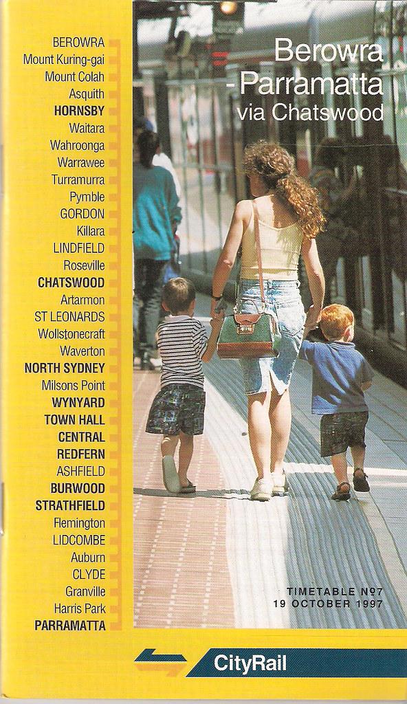 19d9dc20a6d4 ... City Rail Timetable  7 Berowra - Parramatta Via Chatswood Effective  19th October 1997