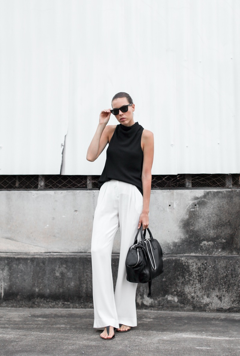 modern legacy australian fashion blog street style workwear Camilla and Marc Assent high neck top Sass and Bide wide leg silk pants ATP sandals oversized Ray Ban wayfarers Alexander Wang chain tote bag monochrome black white (2 of 3)