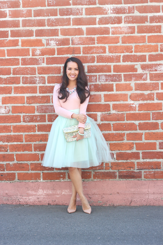 Mint Tulle Skirt and Blush Tee