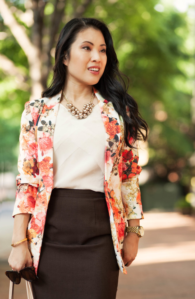 cute & little blog | petite fashion | floral blazer, white chiffon blouse, brown pencil skirt, gold pearl baubles | spring outfit