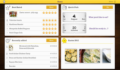 The app's home screen offers various ways of looking up recipes.