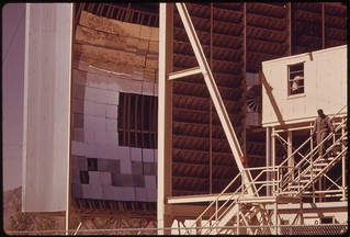 View of the parabolic reflectors and test cab (extreme right) of the solar furnace apparatus operated for the U.S. Army at the White Sands Missile Range, 04/1974.
