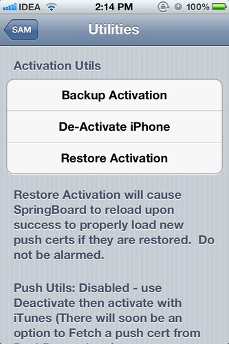 SAMPrefs - Deactivate iPhone