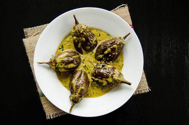 Bagara Baingan - Baby Aubergines/ Eggplants in a Hyderabadi Peanut Sauce