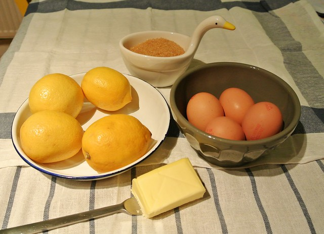 Ingredients to make lemon curd
