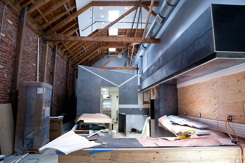 Work in progress of Craftsman and Wolves interior at 746 Valencia Street
