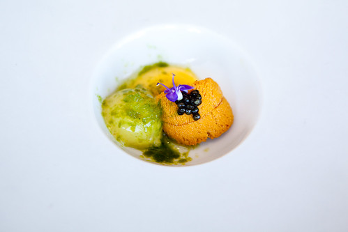 Part of Course 1: Uni, Osetra paddlefish caviar, smoked butternut squash, lovage and tarragon