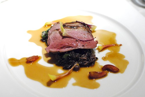 "Pan Roasted Duck Breast with Forbidden Rice and Foie Gras ""Risotto,"" Pickled Ramps, Duck Confit, Cherry Jus"
