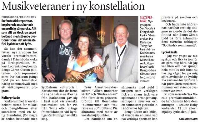 2011-06-22 Sydöstran, Artikel om Sax Vocals i Eringsboda kyrka