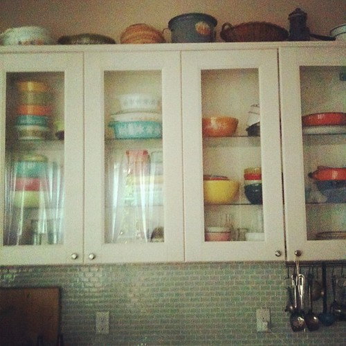 A little early morning Pyrex reorganization. I feel better now.