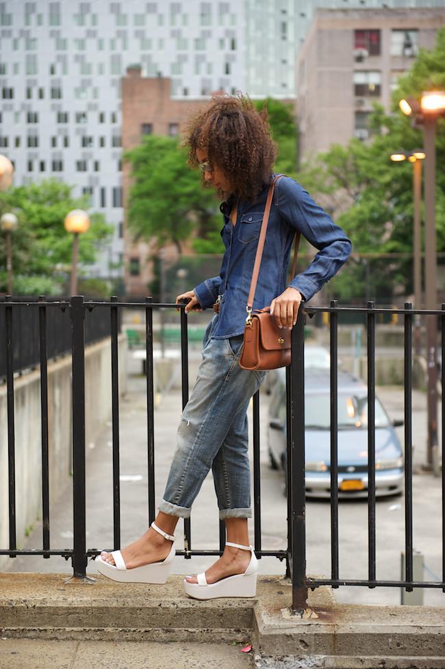 denim shirt and boyfriend jeans