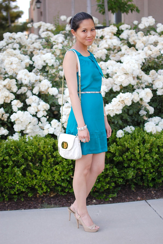 H&M teal bow tie dress
