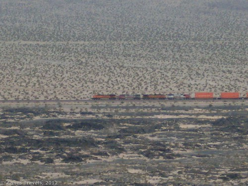 A freight train from Amboy Crater, Amboy Crater National National Landmark, California