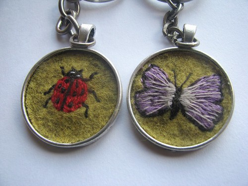 Embroidered Ladybird and Butterfly Keyring by Handmade and Heritage