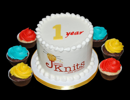 Jessica Knits 1st Anniversary Celebration Cake and Cupcakes