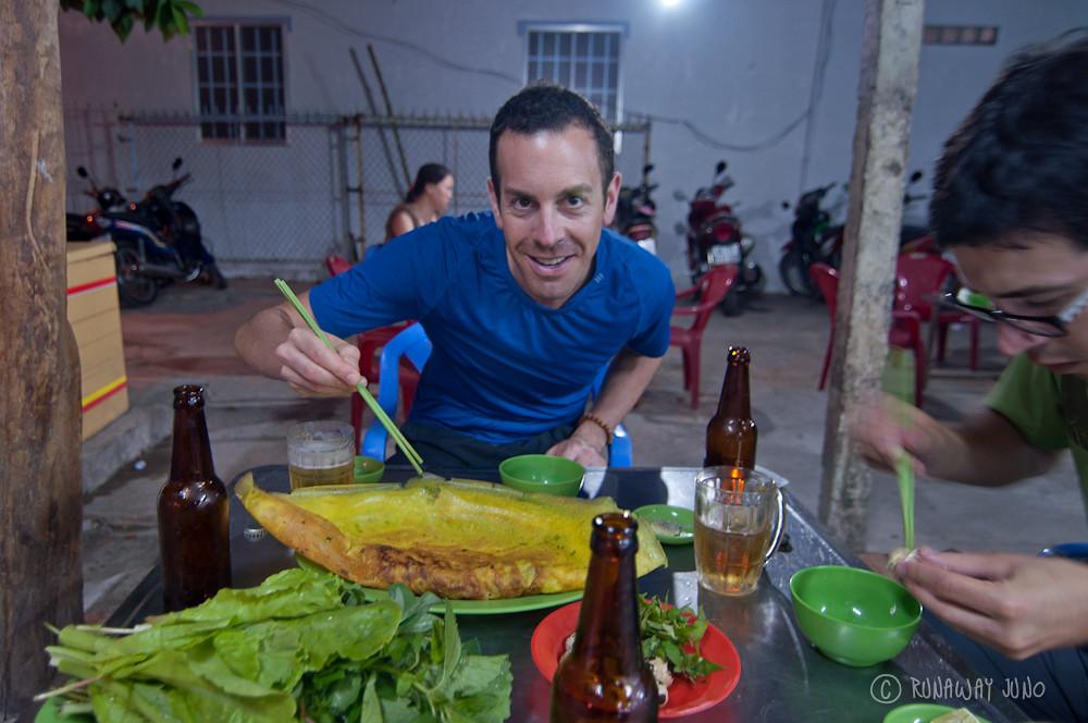 Michael with Banh xeo - Vietnamese Pancake
