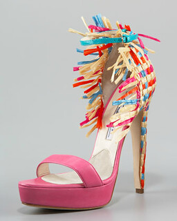 Brian Atwood Raffia-Heel Colorblock d'Orsay Sandal NM Retail $1452 on sale for $972