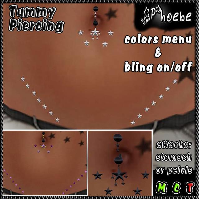 *P* Stars Rain Tummby Piercing -Black-