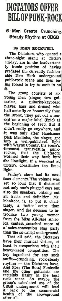 09-05-76 New York Times (Dictators at CBGB)