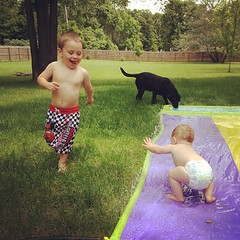 Slip and slide! Aka wear the toddler out. #whydidntwedothissooner