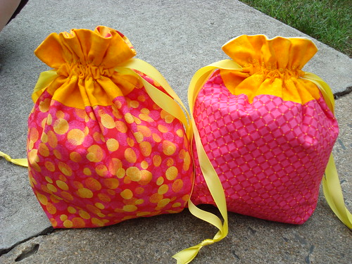 Pink and Orange Drawstring Bags
