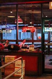 A Nancy's Bar-B-Q patron ponders the signage