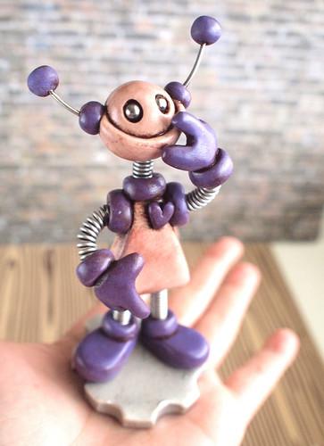 Purple Pat Grungy Bot Mini Robot Sculpture by HerArtSheLoves