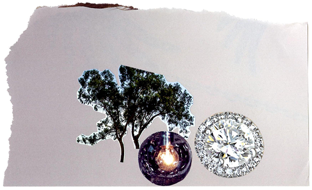 tree, lamp, and diamond collage, pale grey background