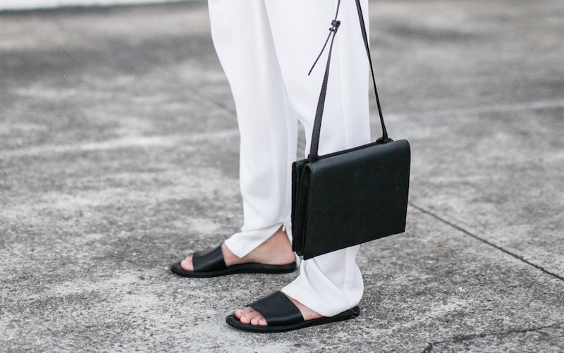 modern legacy blog Camilla Marc Zoya Cami all white Nicholas foldover ankle zip pants slide sandals pool Alexander Wang Prisma Envelope crossbody bag outfit street style blogger Australia (1 of 1)