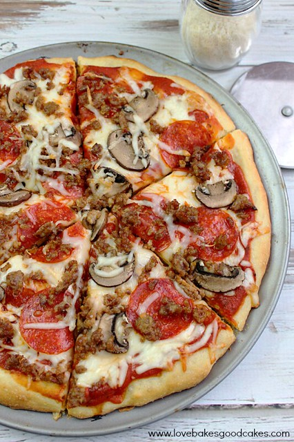 PMS Pizza - That's pepperoni, mushroom and sausage, in case you were wondering! Perfect for pizza night!! #pizza #lovebakesgoodcakes