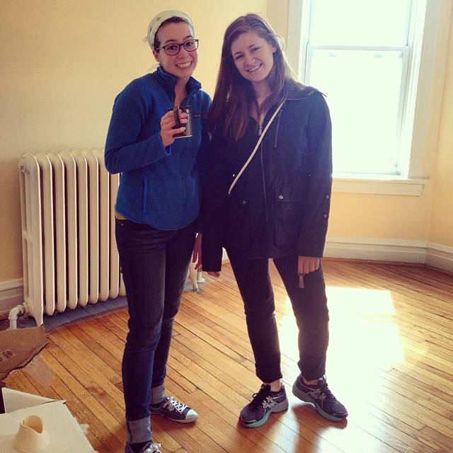 Whitney and Emma in Em's new apt.