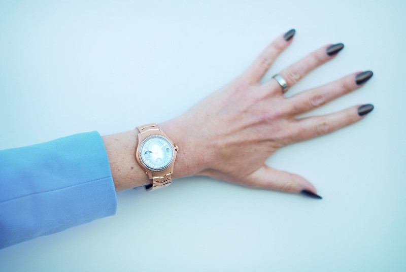 Maison EBEL collection rose gold diamond watch, sky blue blazer | Not Dressed As Lamb